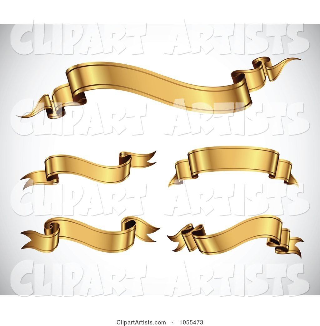 Digital Collage of Wavy Gold Ribbon Banners