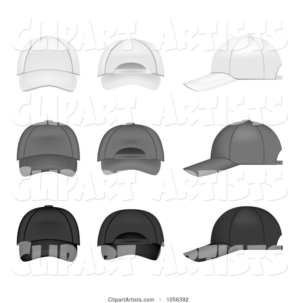 Digital Collage of White, Gray and Black Baseball Caps