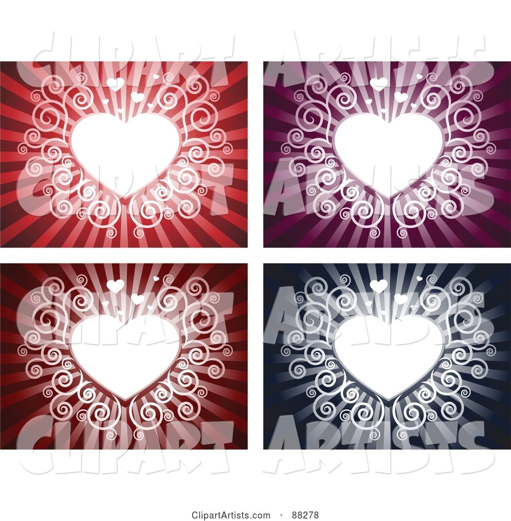 Digital Collage of White Swirly Hearts on Red, Purple, Maroon and Blue Backgrounds