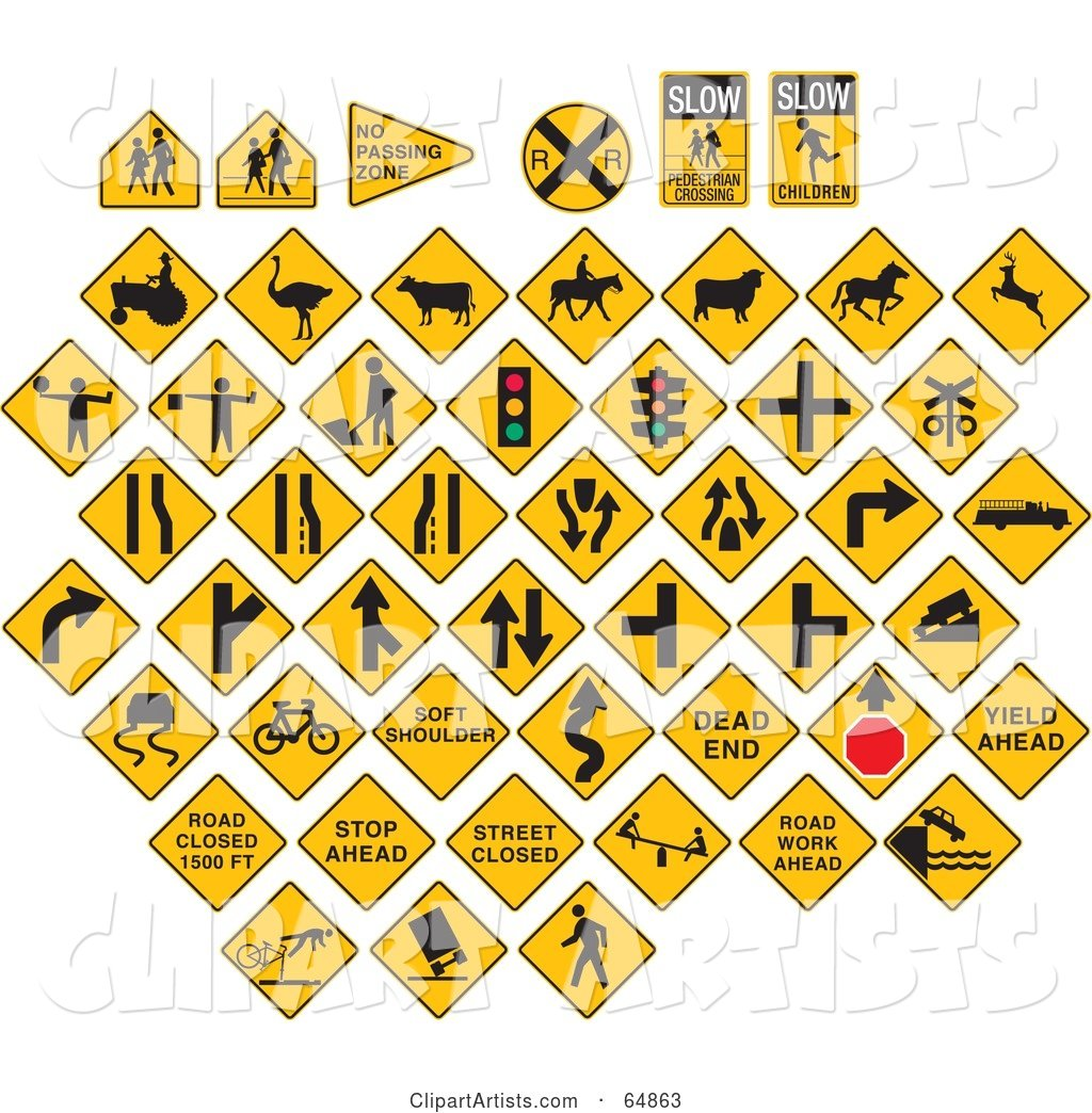 Digital Collage of Yellow Caution Traffic Signs on White