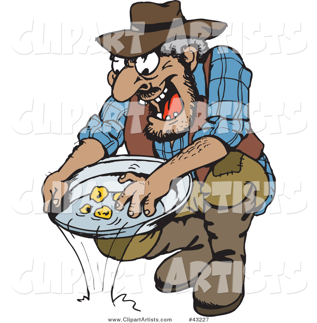 Dirty Old Gold Miner Finding Nuggets in His Tray