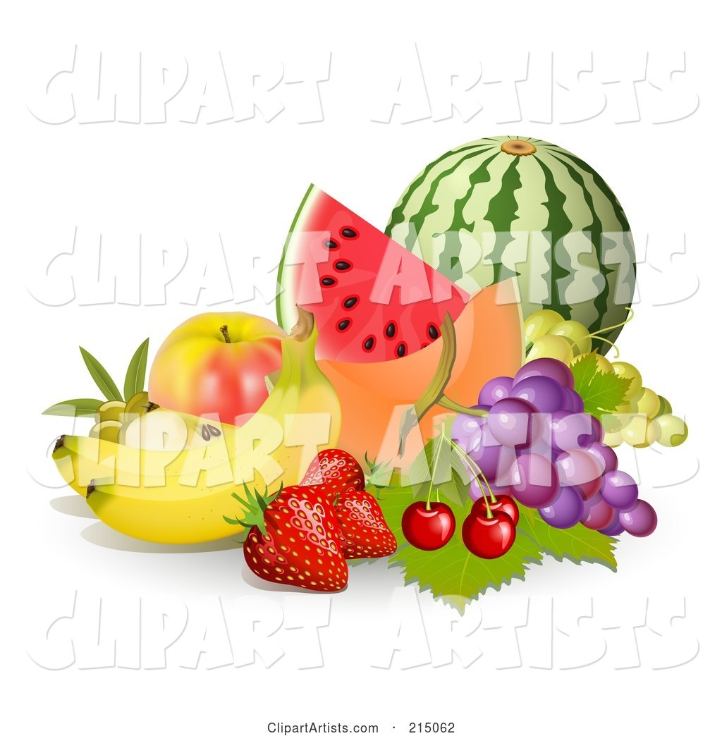 Display of Fruit; Watermelon, Cantaloupe, Apple, Grapes, Cherries, Strawberries and Bannas