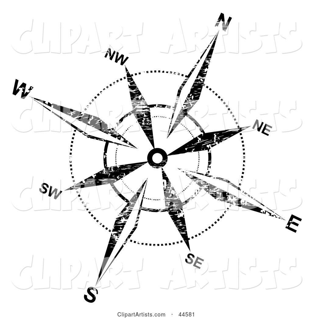 Distressed Black and White Compass Rose Background