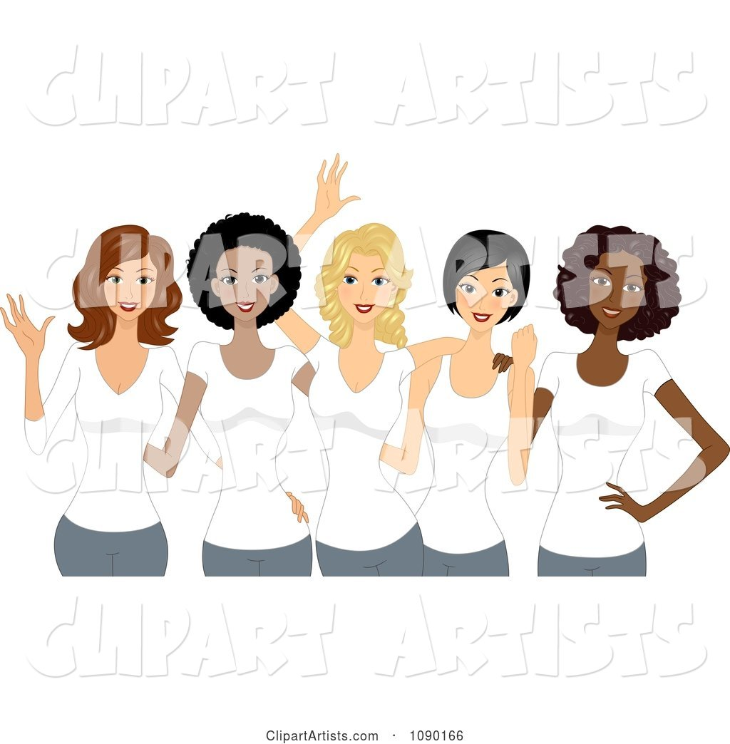 Diverse Ladies Wearing White T Shirts on International Womens Day