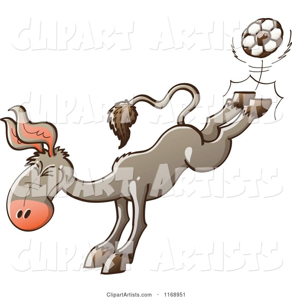 Donkey Kicking a Soccer Ball with His Hind Legs
