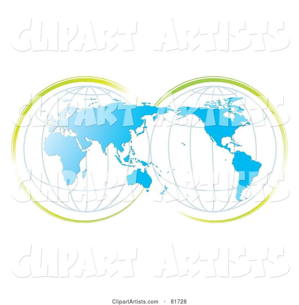 Double Globe Blue Map with Green Accents
