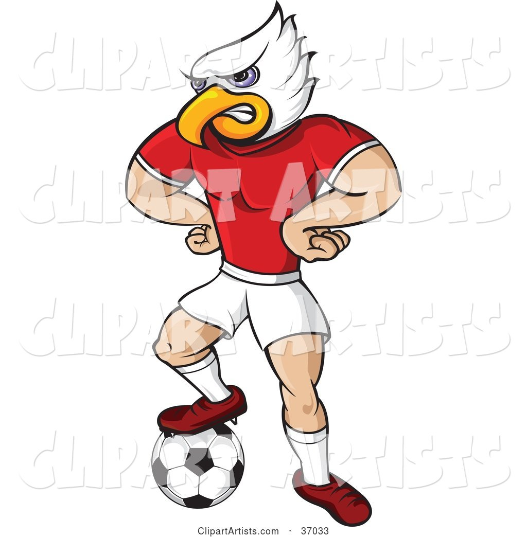 Eagle Mascot in Uniform, Standing with His Hands on His Hips and One Foot on a Soccer Ball