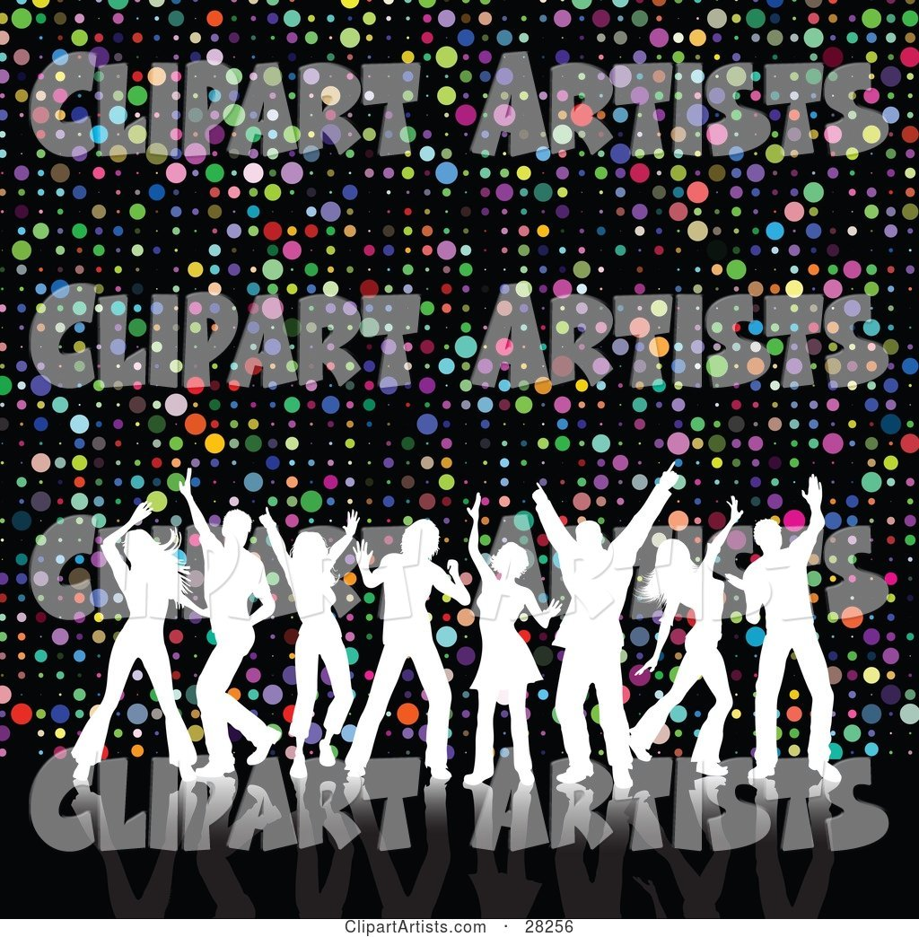 Eight White Silhouetted Dancers with Their Arms in the Air, Disco Dancing over a Colorful Circle Background on Black