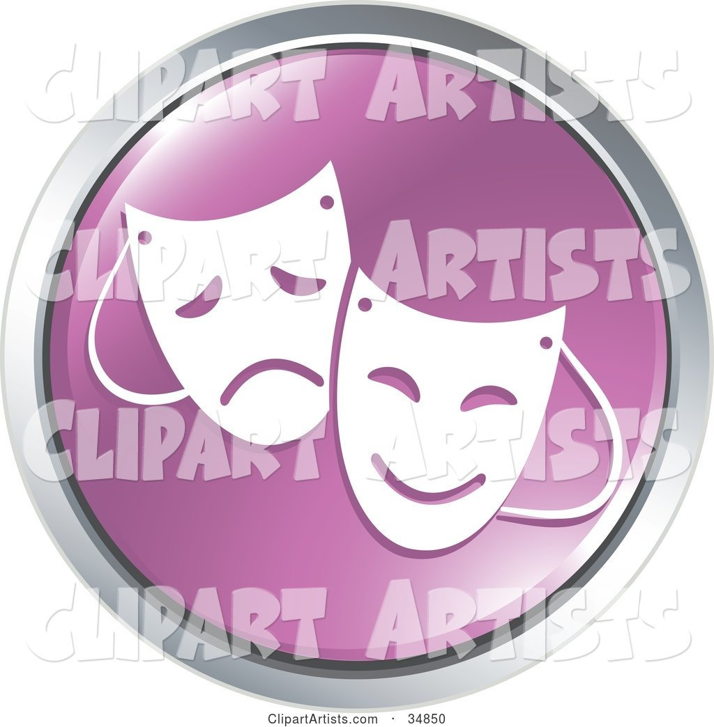 Emotional Drama Masks on a Purple Website Button