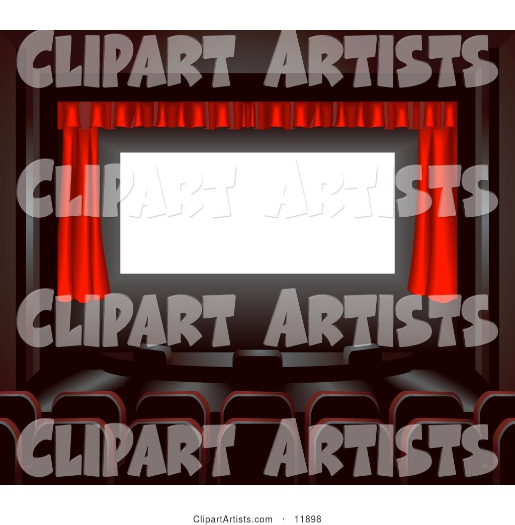 Empty Seats Facing a Red Curtain in a Theater