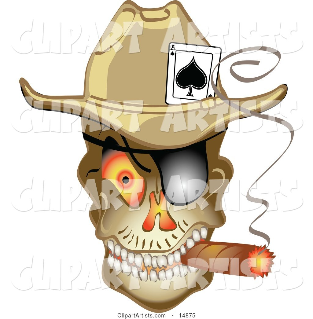 Evil Skeleton Cowboy with an Ace of Spades in His Hat, Smoking a Cigar