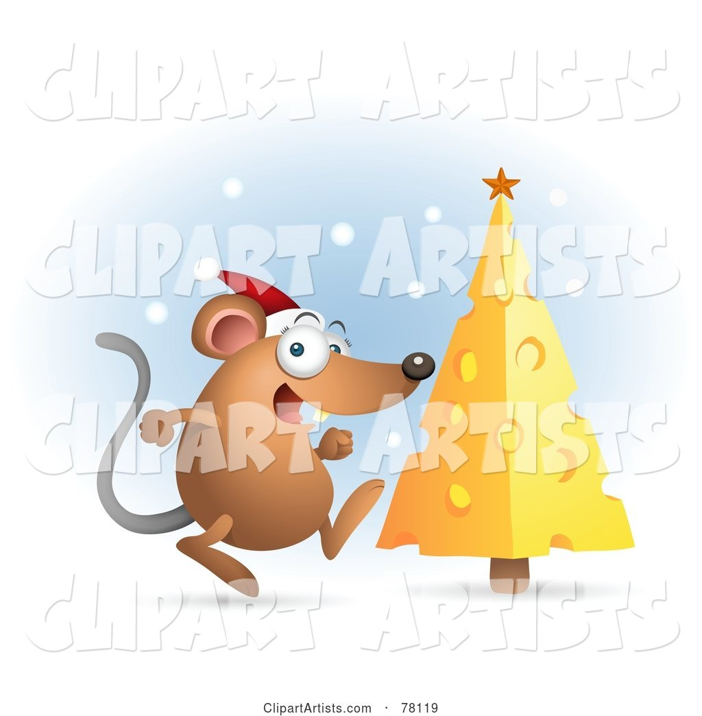 Excited Mouse Wearing an Excited Mouse Wearing a Santa Hat and Running Towards His Cheese Christmas Tree