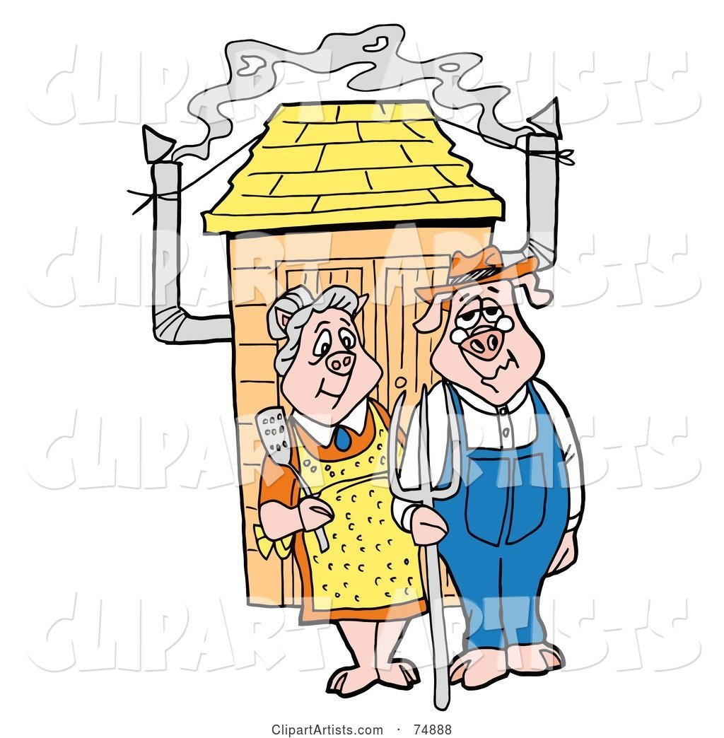 Farmer Pig Couple Standing Outside a Smoker