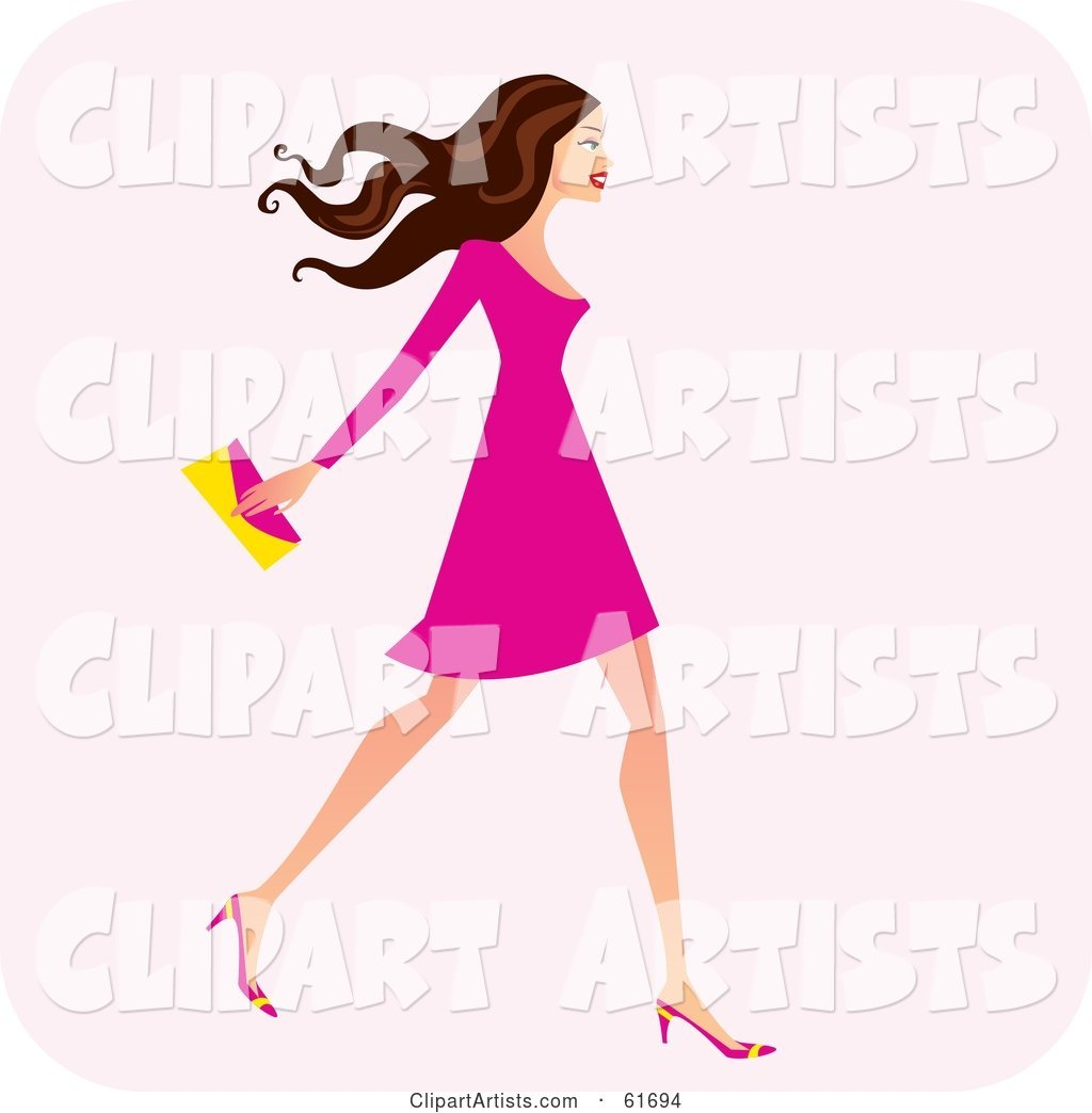 Fashionable Brunette Woman Walking and Carrying a Clutch Purse