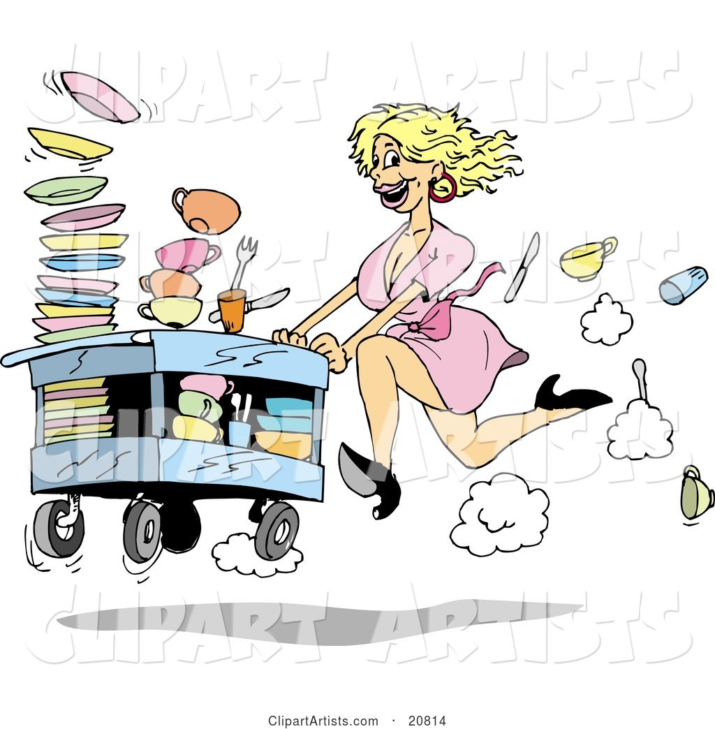 Fast Blond Waitress Woman in a Pink Dress and Black High Heels, Rushing a Cart of Dirty Dishes to Be Washed at a Restaurant