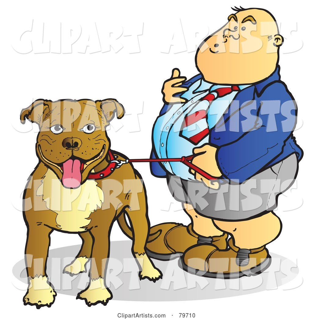 Fat Man Standing with His Leashed Pit Bull Dog