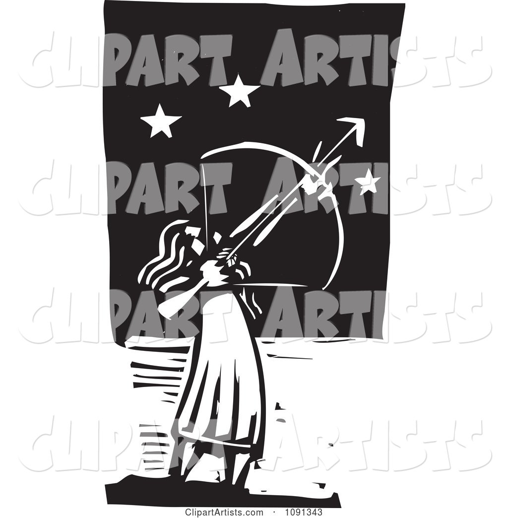 Female Archer Aiming at the Stars Black and White Woodcut