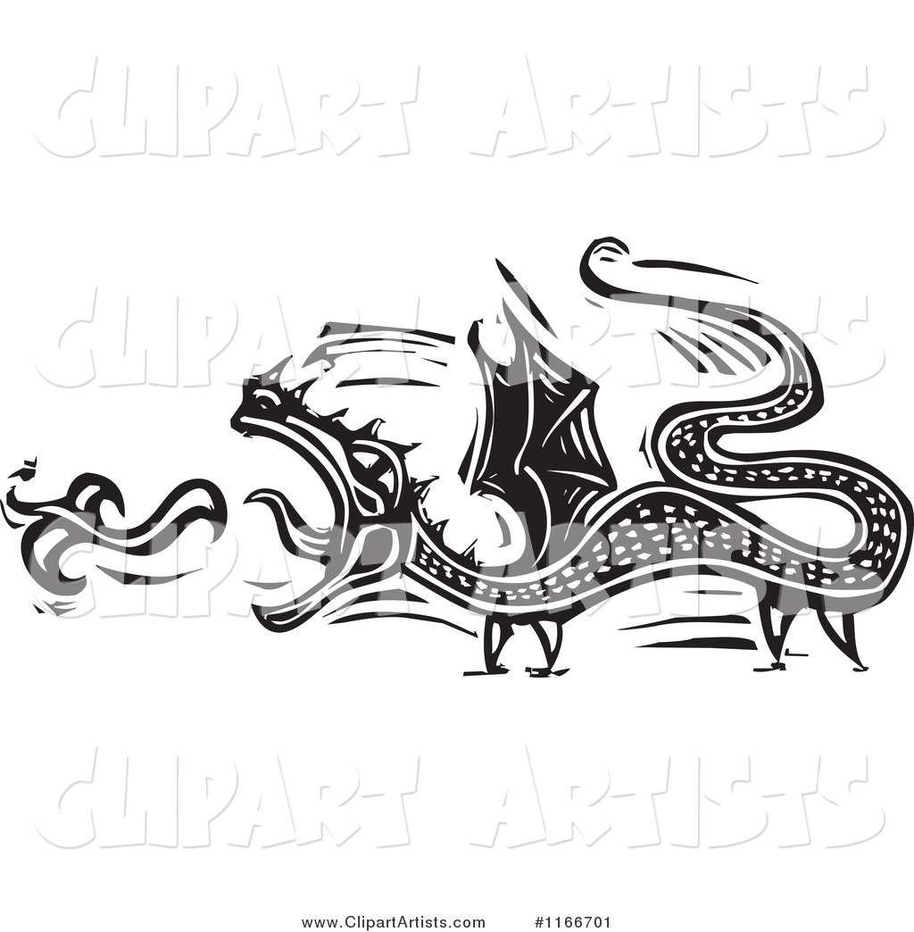 Fire Breathing Dragon Black and White Woodcut
