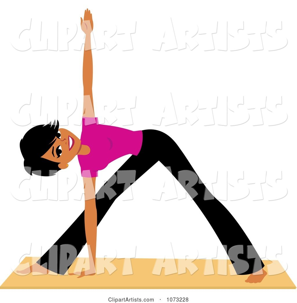 Fit Black Woman Doing Yoga Triangle Pose