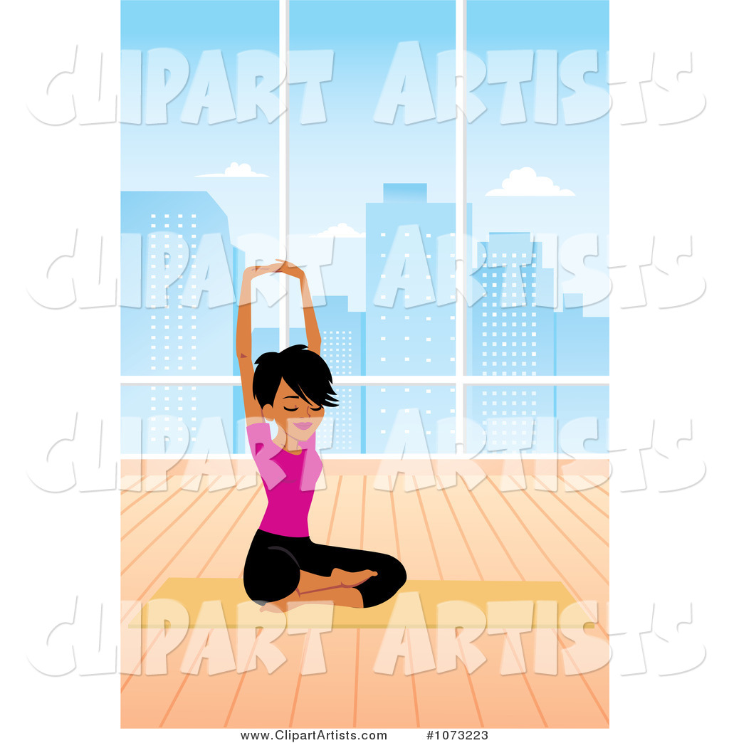 Fit Black Woman in a Studio Doing a Seated Yoga Pose