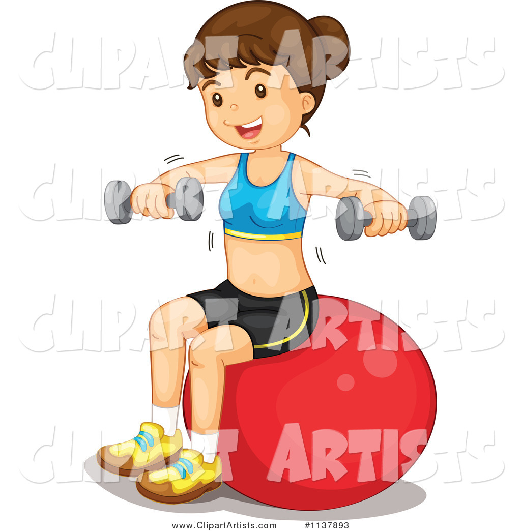 Fit Woman Working out with Dumbbells and a Ball