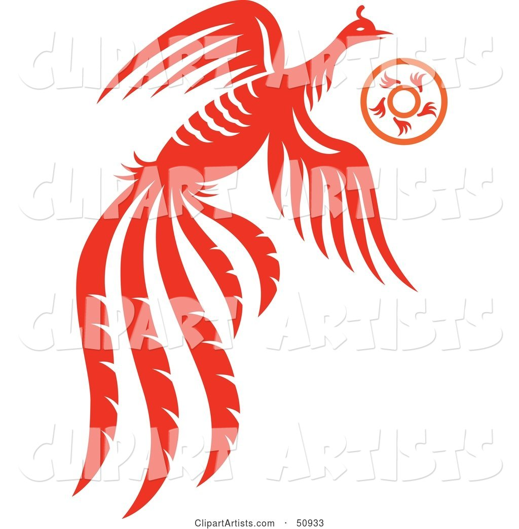 Flying Orange Fantasy Phoenix with a Ring