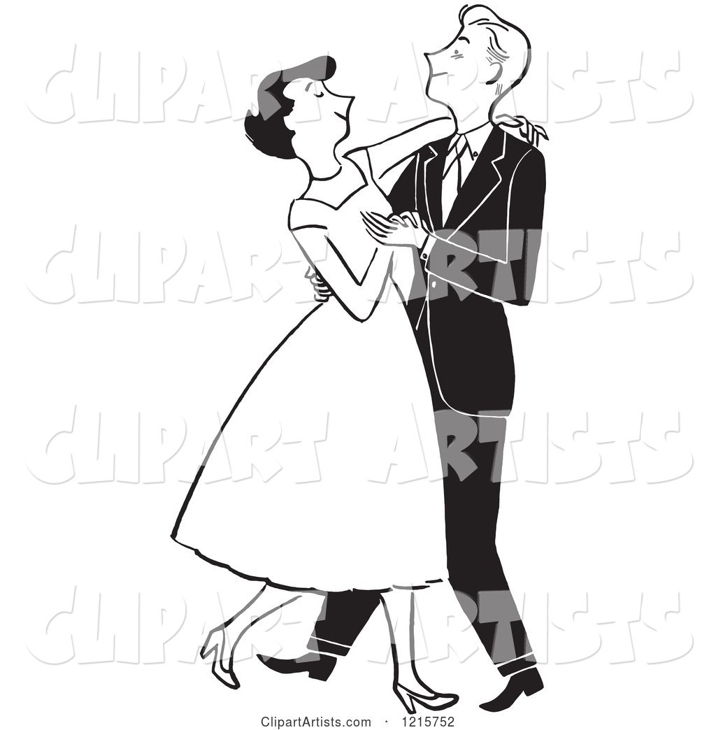 Formal Polite Couple Dancing, in Black and White