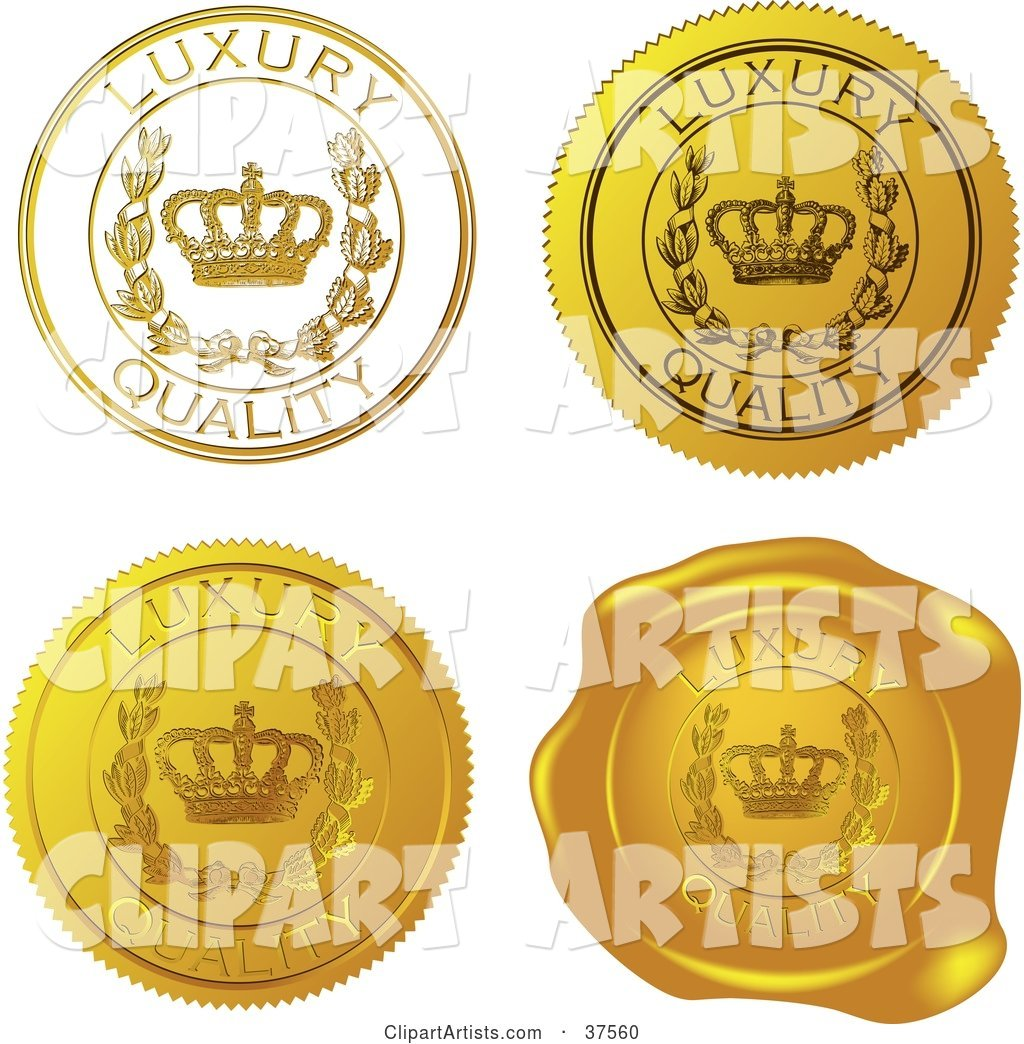 Four Gold Luxury Quality Sticker and Wax Seals