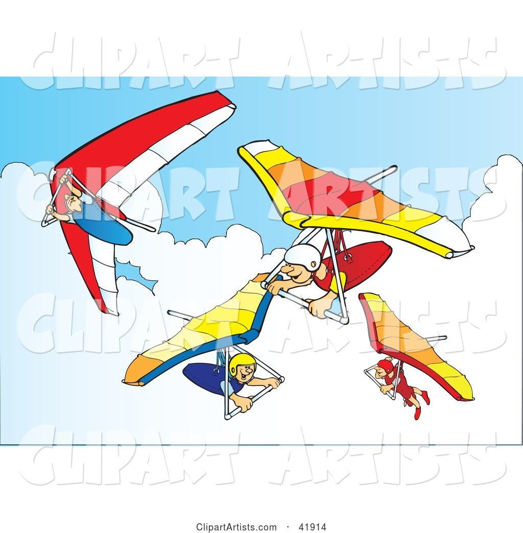 Four Hanggliders in the Sky