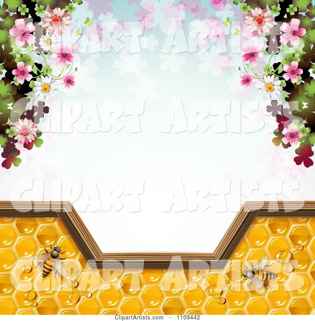 Frame of Blossoms and Bees on Honey over Clovers