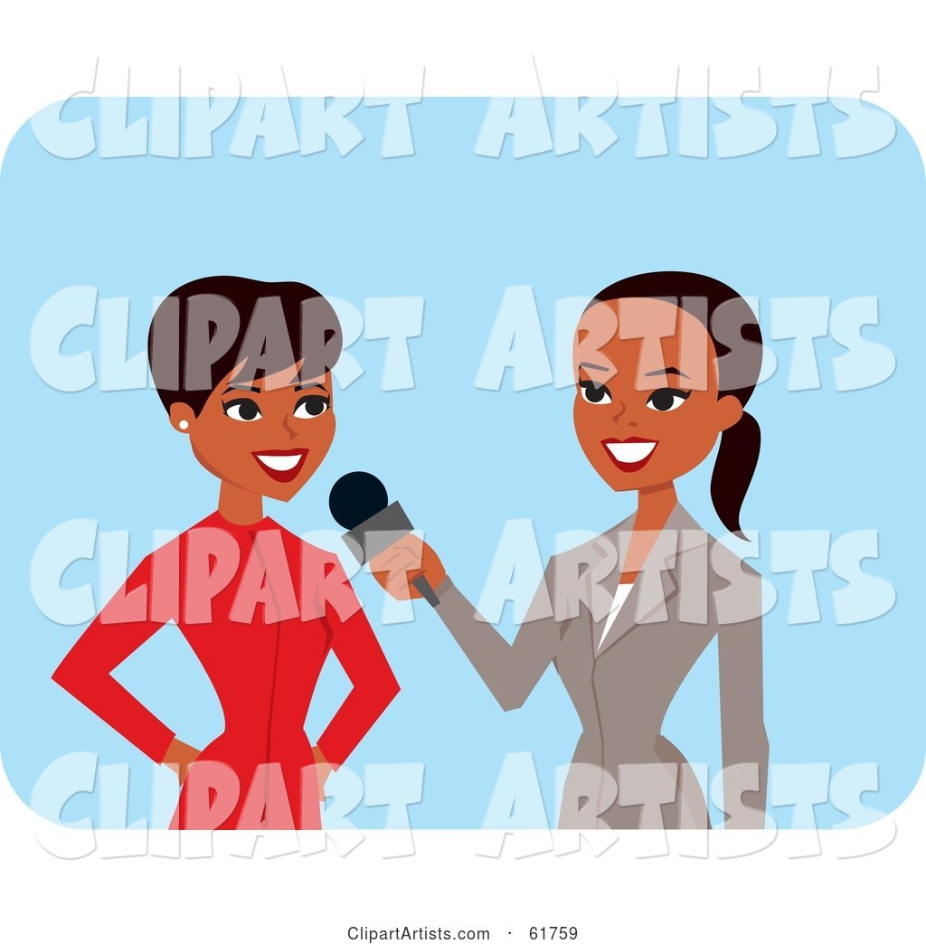 Friendly African American News Reporter Interviewing Another Woman