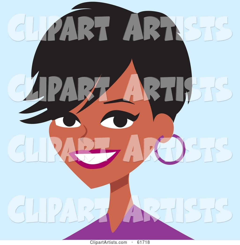 Friendly African American Woman in a Purple Shirt