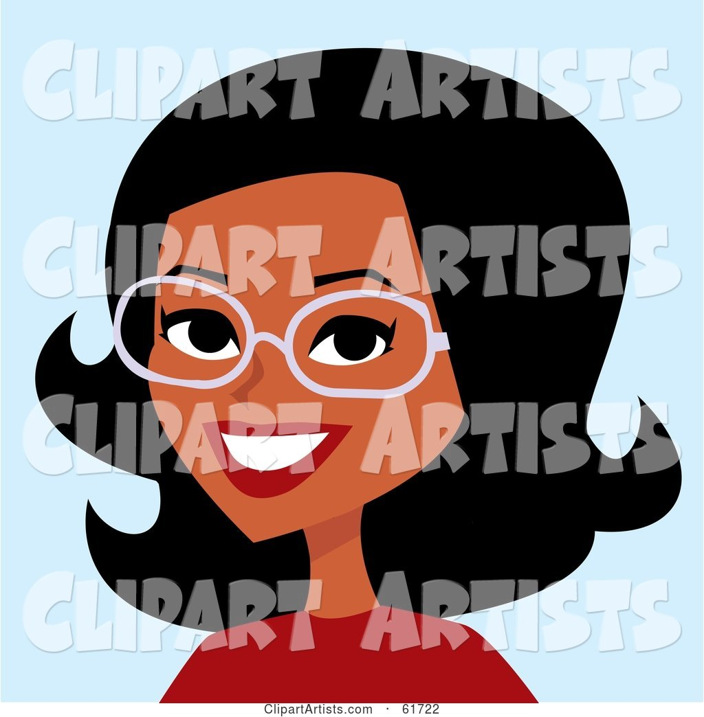 Friendly African American Woman Wearing Glasses and Smiling