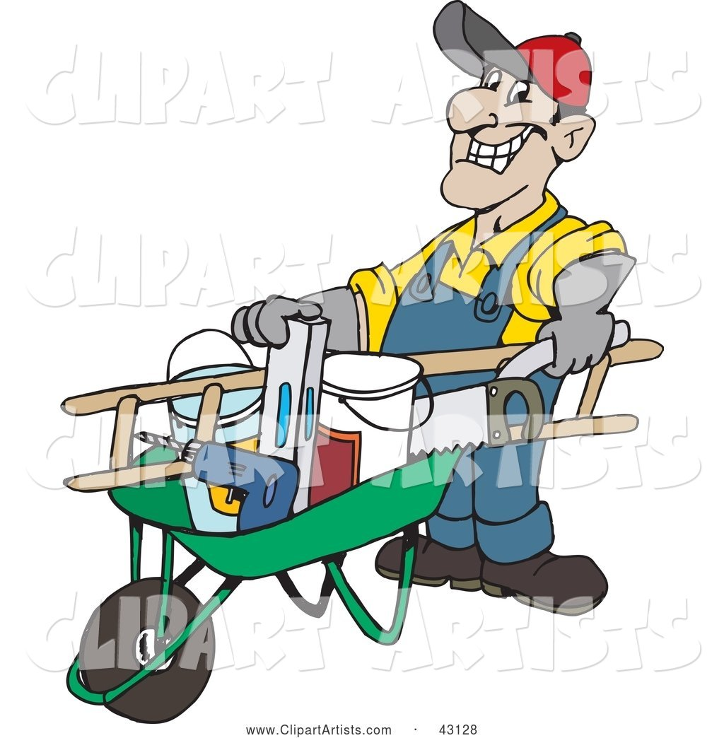 Friendly Handy Man Pushing Tools in a Wheel Barrow