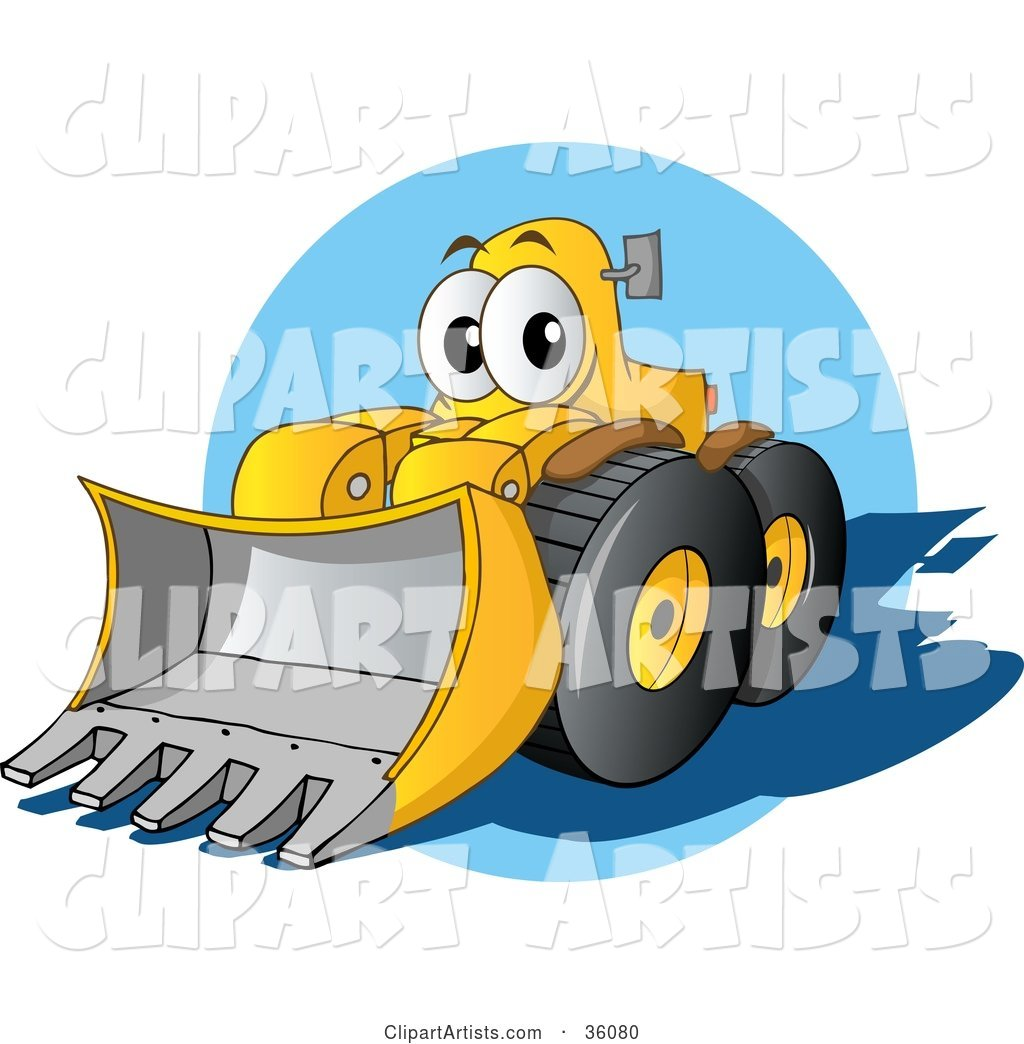 Friendly Yellow Bulldozer Character with a Loader Moving Forward