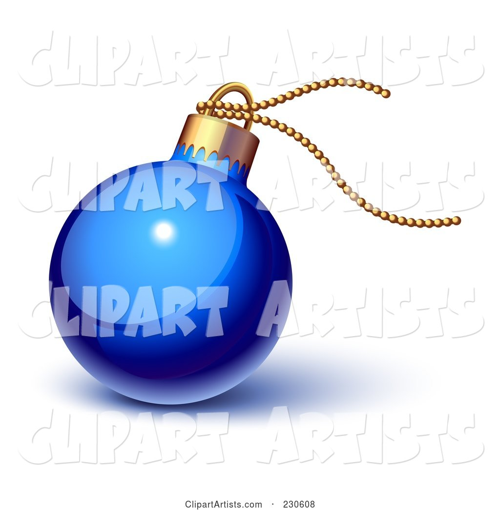Glossy Blue Christmas Ornament with Gold String