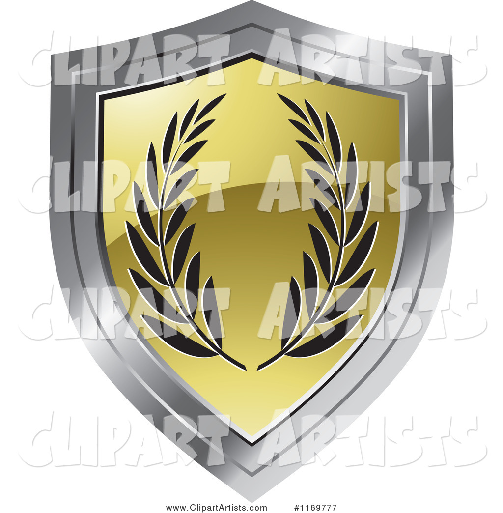Gold and Chrome Shield with Olive Branches