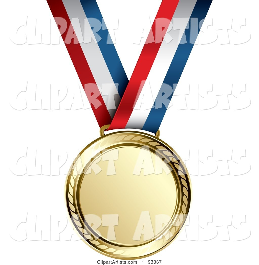 Gold Medal Award on a Red, White and Blue Ribbon
