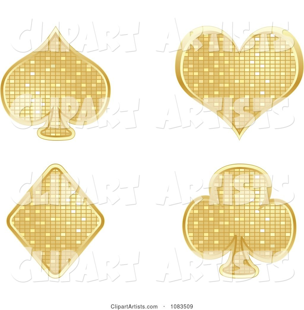 Gold Mosaic Playing Card Poker Suit Symbols