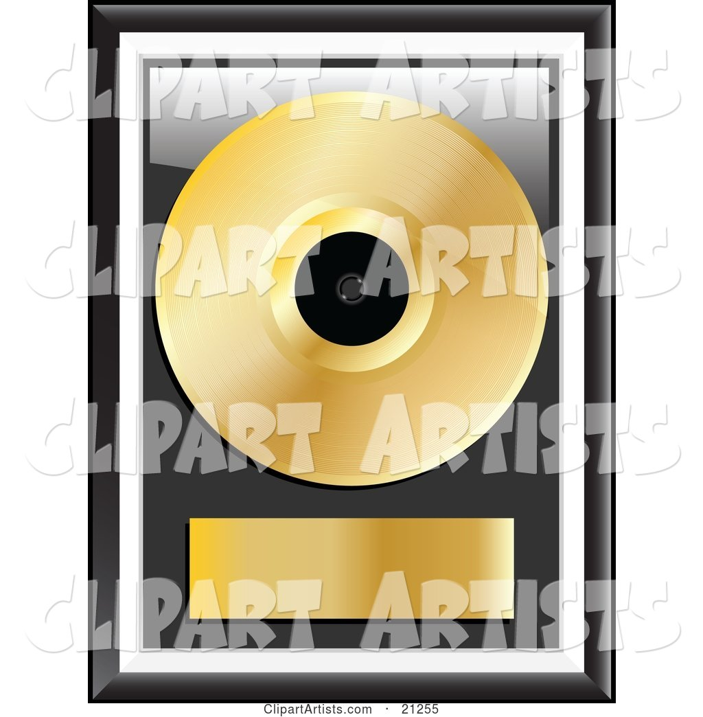 Gold Music Disc Framed with a Blank Label