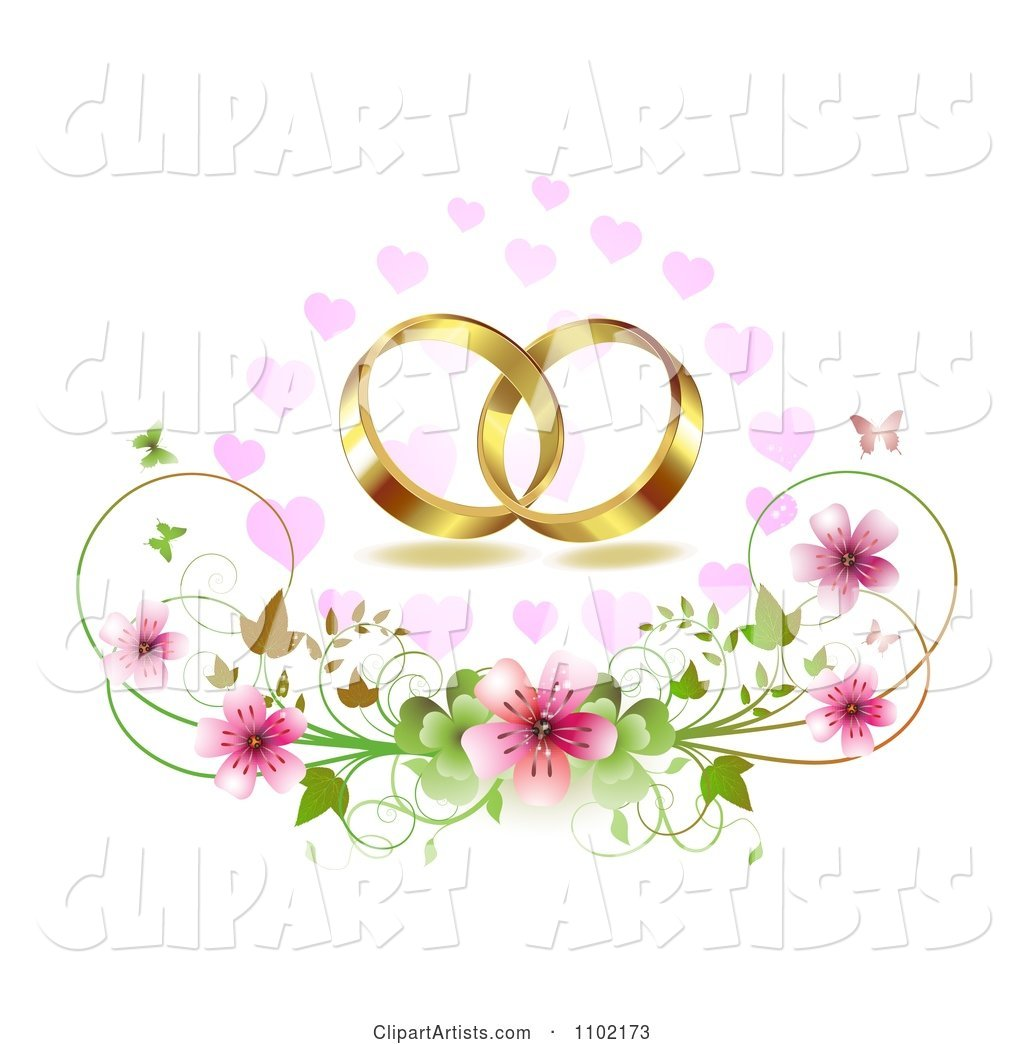 Gold Wedding Bands over Cherry Blossoms Hearts and Butterflies