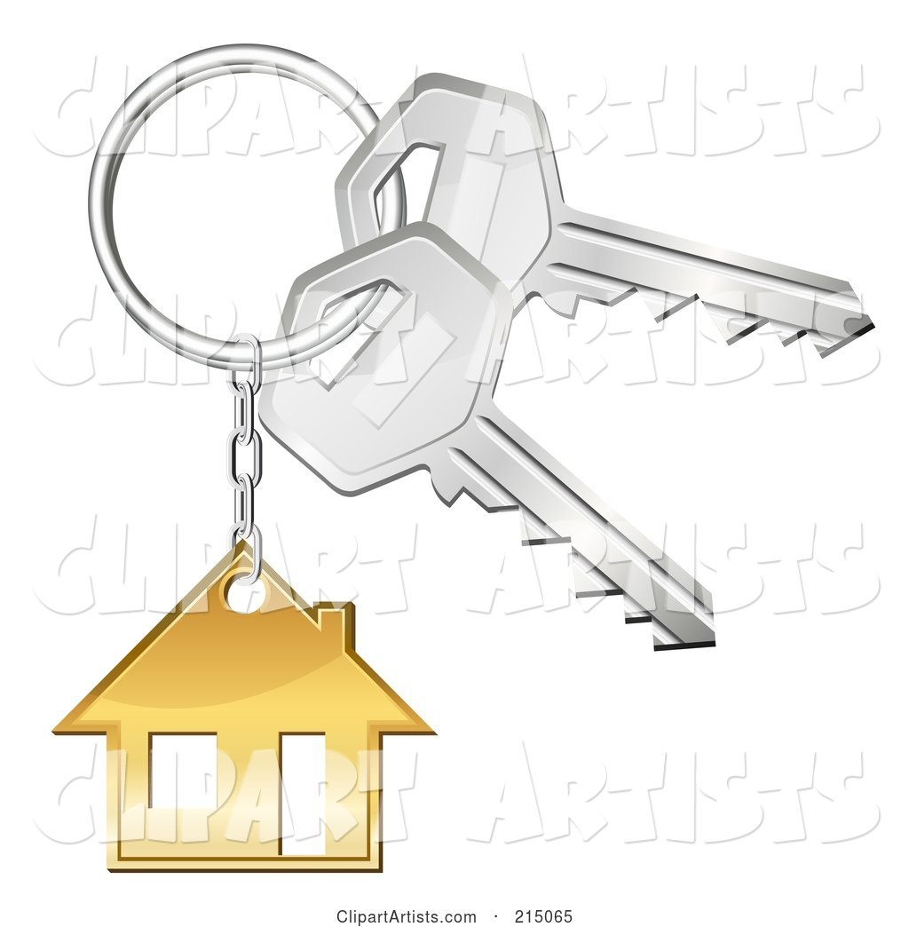 Golden House Keychain on a Ring with Keys