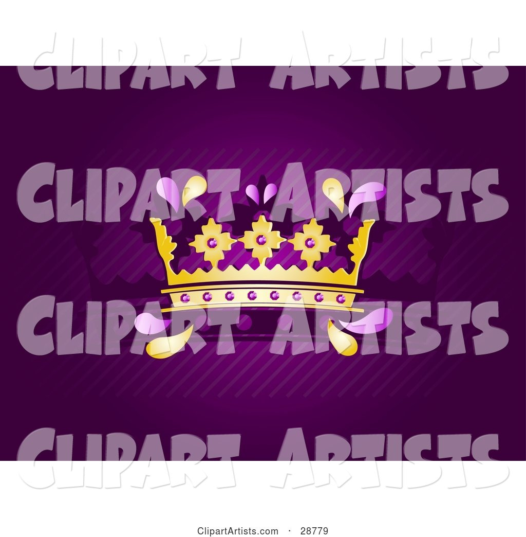 Golden King's or Queen's Crown with Purple Jewels, over a Deep Purple Background with Diagonal Lines and a Silhouetted Crown