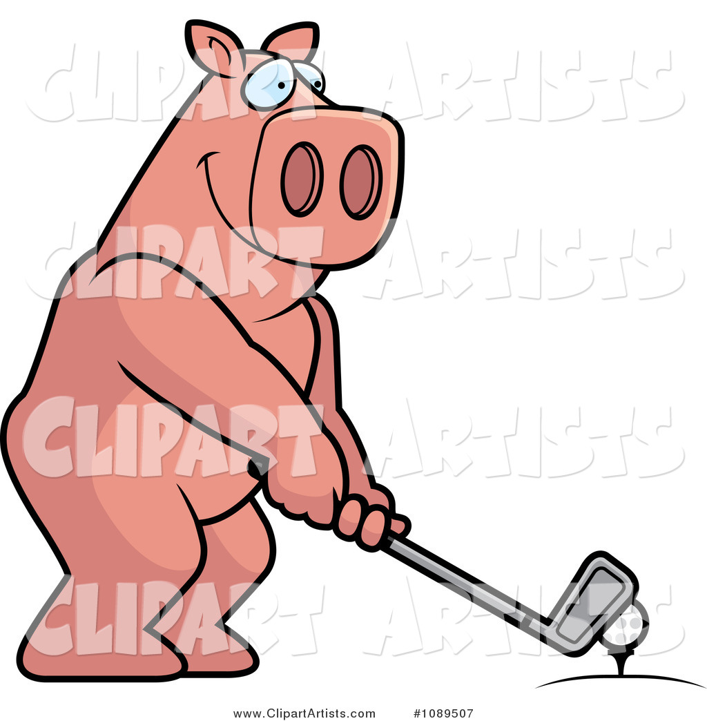 Golfing Pig Holding the Club Against the Ball on the Tee