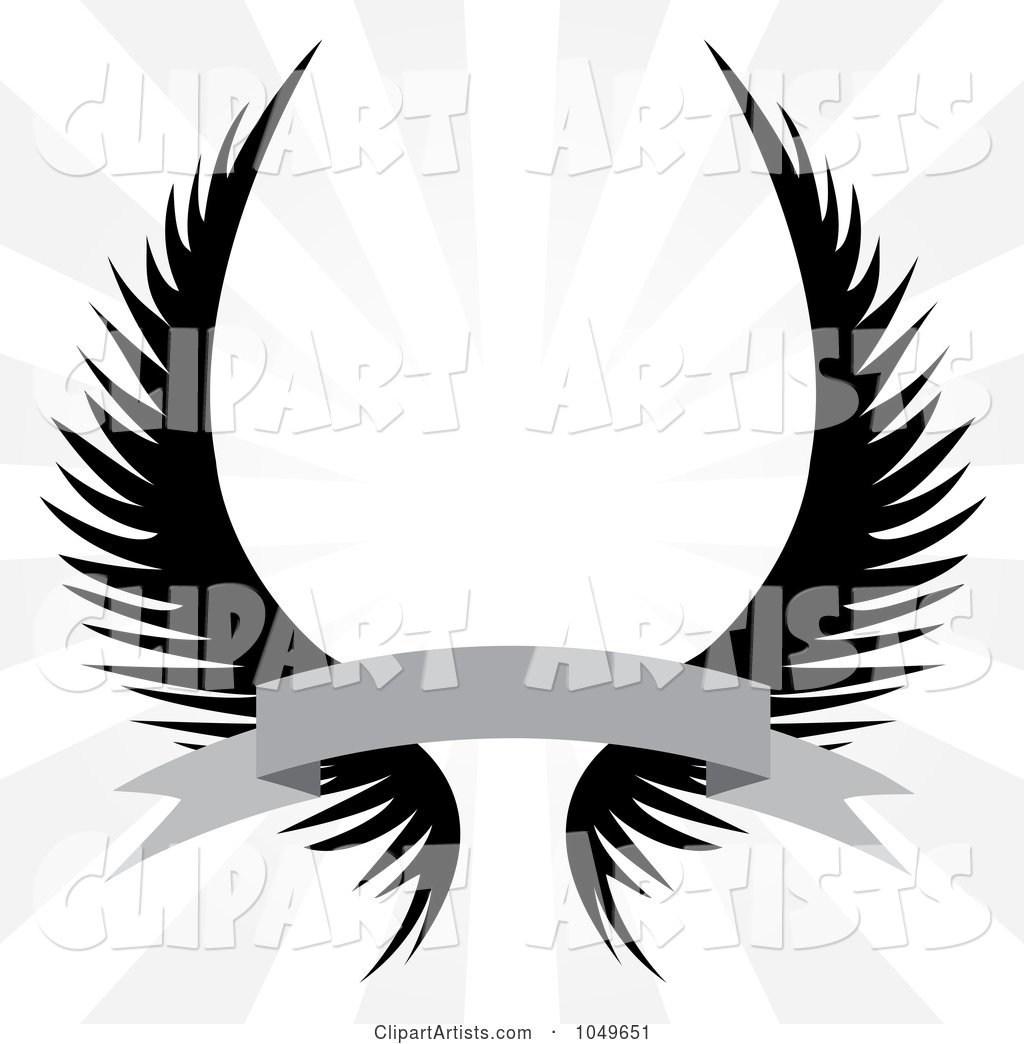 Gothic Angel Wings with a Banner over a Silver Rays