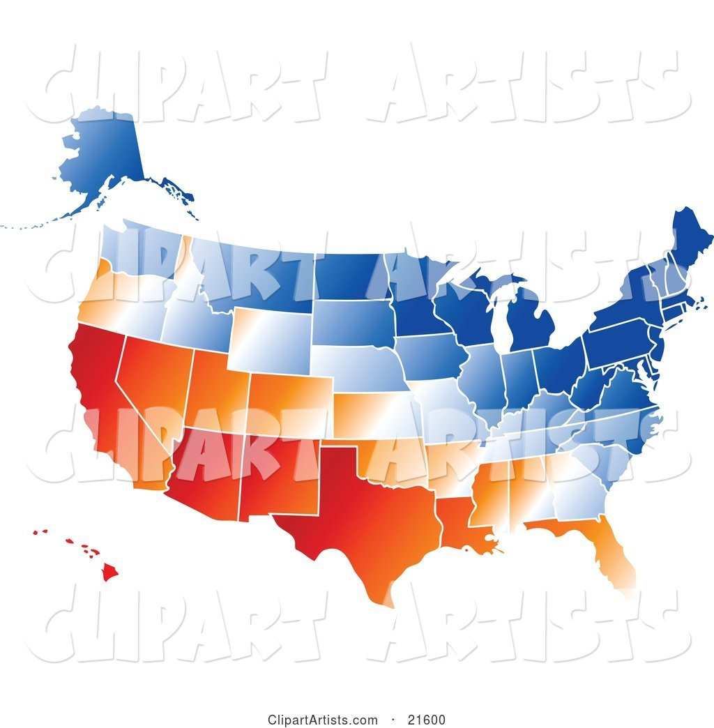 Gradient Red, Orange, White and Blue United States of America Map with All States, on a White Background
