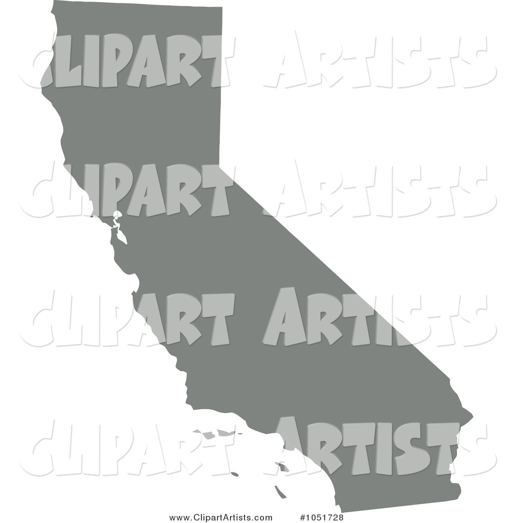 Gray Silhouetted Shape of the State of California, United States
