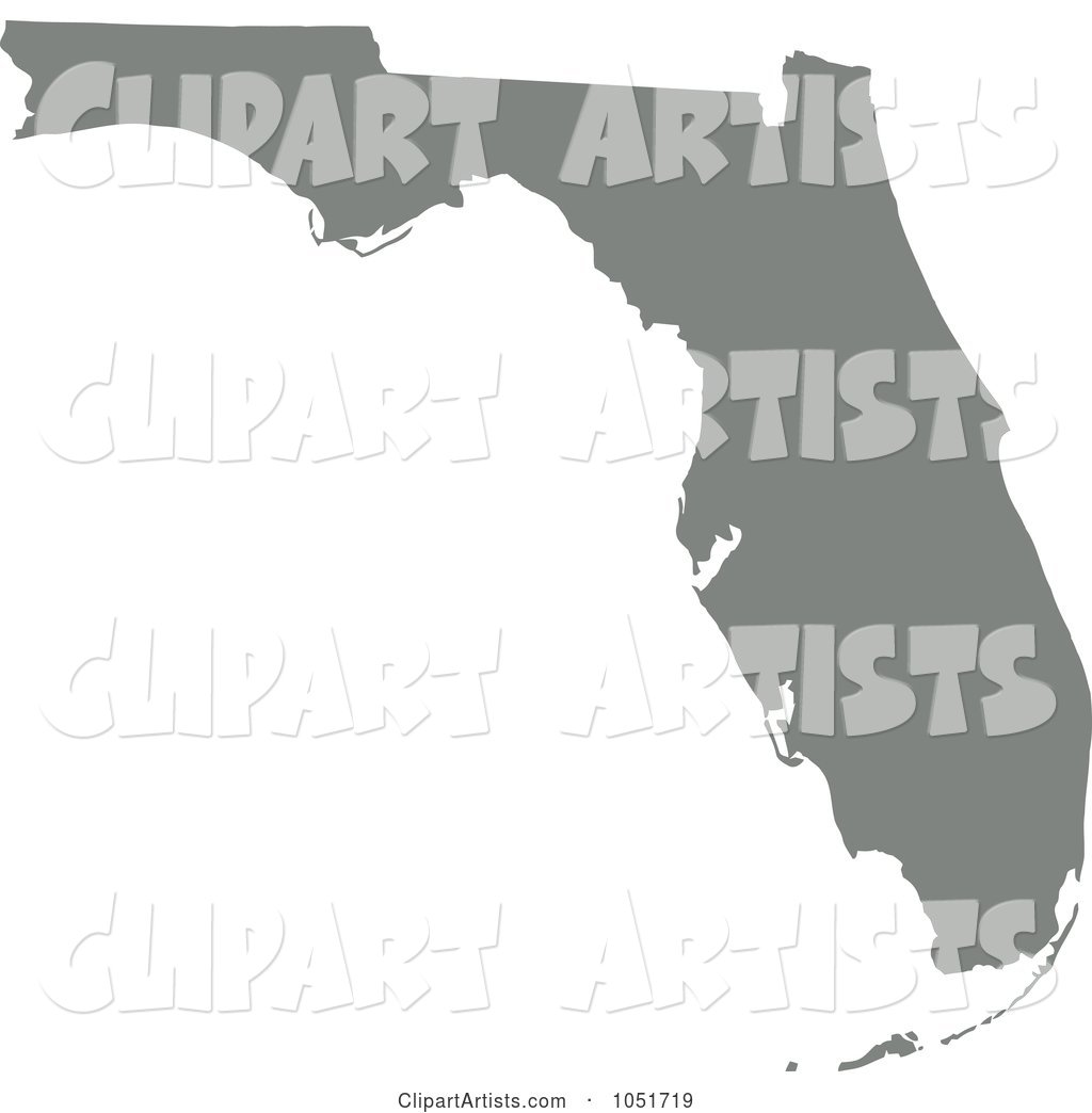 Gray Silhouetted Shape of the State of Florida, United States