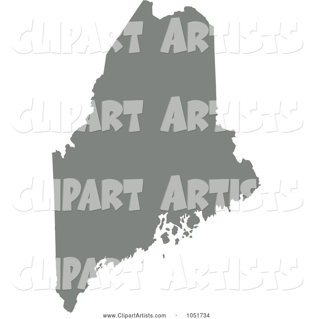 Gray Silhouetted Shape of the State of Maine, United States