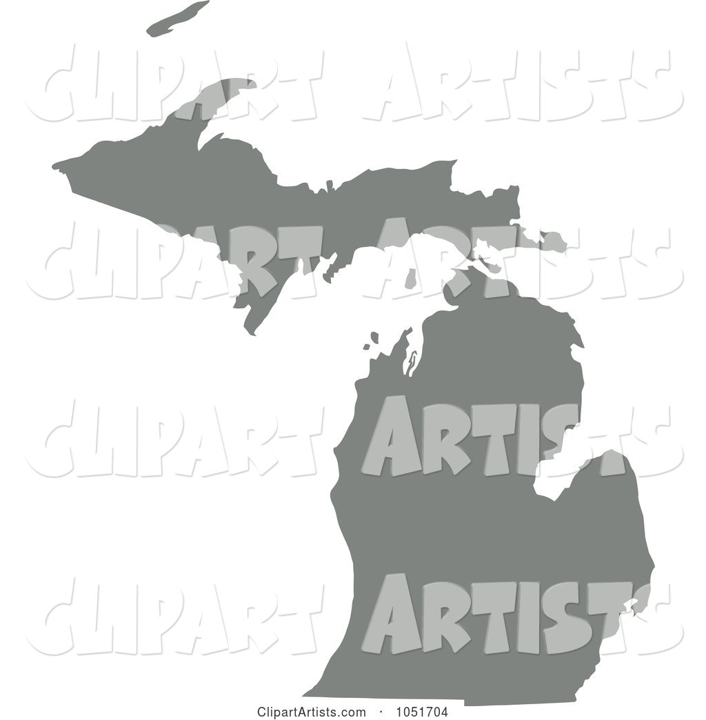 Gray Silhouetted Shape of the State of Michigan, United States
